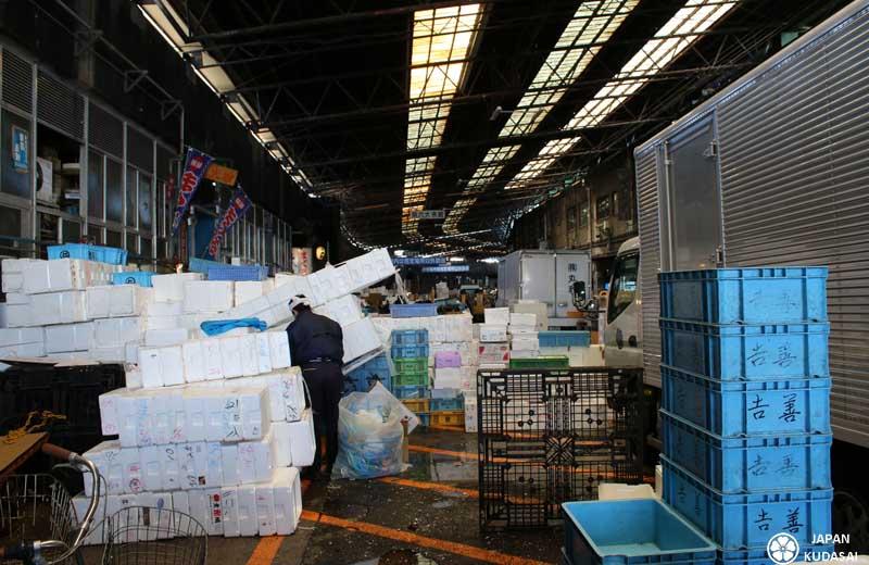 Vue sur les docks du marché de Tsukiji, avec les caisses de polystyrène entassées.