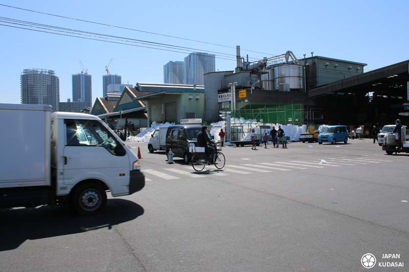 Entrée sur les docks de Tsukiji, dans l'effervescence du marché du matin.